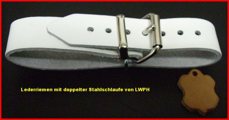 6 Lederriemen schwarz 2,0 x 24,0 cm doppelte Metallschlaufe Kinderwagen Halter