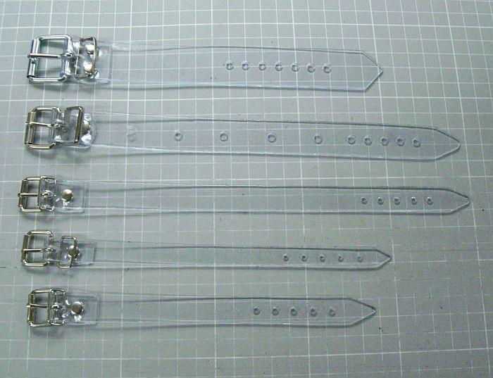 4 Befestigungsriemen transparent glasklar 2,5 x 18,0 cm lang Fixierungsriemen